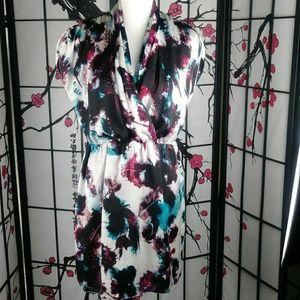 Kensie Retro Watercolor Dress Belted Wrap Top